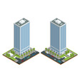 isometric city houses composition with building vector image