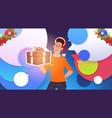 man hold gift box and wear santa hats christmas vector image