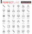 school university education thin line web icons vector image