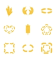 Wheat ear icons set cartoon style vector image