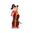 young woman playing cello cartoon character vector image