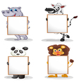 Four different animals with empty whiteboards vector image vector image