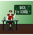back to school male teacher in a classroom with vector image