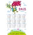 fairy calendar for 2012 vector image vector image
