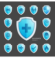 Insurance policy blue shield icon design vector image vector image