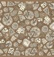 cartoon cute hand drawn pizza seamless pattern vector image