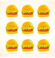 Cute funny cartoon hamburger with emotions set vector image
