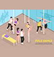 pole dance training isometric vector image