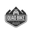 Quad Bike Festival Label Design Black And White vector image