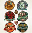 rock jazz and blues retro vintage badges vector image
