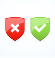 set of shields with check marks vector image