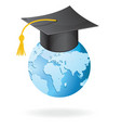 The graduation cap and globe icon vector image