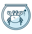 cute crab character in aquarium vector image