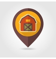 Barn house flat mapping pin icon with long shadow vector image