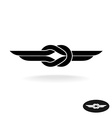 Knot with wings black silhouette title logo vector image vector image