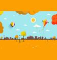 Autumn empty city park flat design landscape vector image
