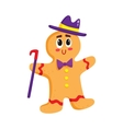 Funny Christmas gingerbread in hat and bow tie vector image