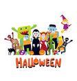 group of halloween monster characters vector image