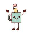kawaii cup and pencil tool designer cartoon vector image