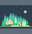 the wooden house on the edge of the pine forest vector image