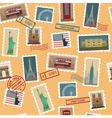 Travel Postage Stamps Seamless Pattern vector image