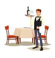 waiter in cafe professional waiter dinner vector image