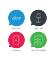 Table lamp cupboard and wall shelf icons vector image
