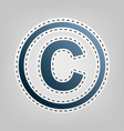 copyright sign   blue icon vector image