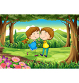 A couple dating at the forest vector image