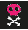 Pink skull on black background vector image