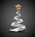 Simple christmas tree made from metalic stripe - vector image