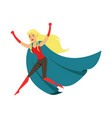 woman fluing superhero in comics costume with blue vector image