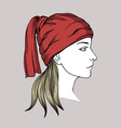Face of girl with winter cap vector image