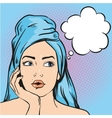 Woman after a shower thinking about something vector image