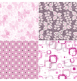 Set seamless pink grunge patterns vector image vector image