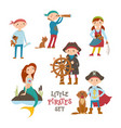 set of cute little pirate sailor kids and mermaid vector image