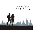 Two runners on the horizon vector image