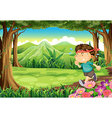 A boy jogging in the middle of the forest vector image vector image