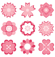 pink flower symbol set vector image