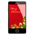 christmas card smartphone vector image vector image