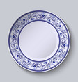 Plate with blue patterned border Template design vector image