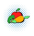 Carrot  broccoli and apple icon comics style vector image