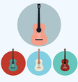 Acoustic Guitar colorful icon set vector image
