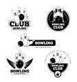 Bowling labels emblems and badges set vector image
