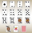 Clubs Playing Cards Set vector image