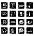 Computer set icons grunge style vector image