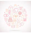 Set of wedding icons grouped in circle vector image
