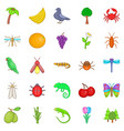 vegetable kingdom icons set cartoon style vector image