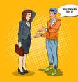 young man explaining to businesswoman pop art vector image