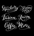 coffee and strawberry hand written typography vector image